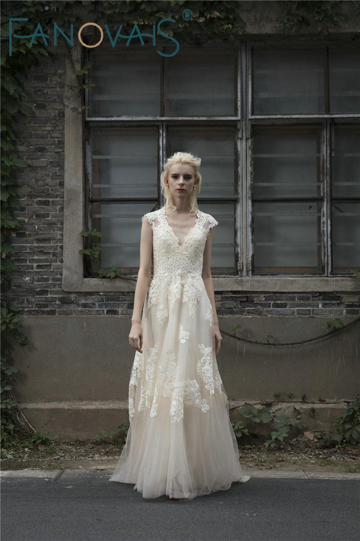 Vintage Lace Boho Φόρεμα Γάμου Φορέματα - Γαμήλια φορέματα - Φωτογραφία 3