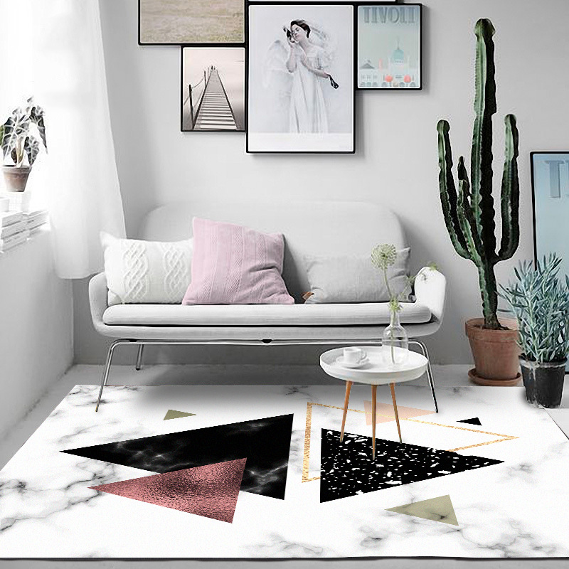 Modern Nordic Imitation marble texture carpet Geometric door mat velvet plush Bedroom living room non slip bedside rug customize in Carpet from Home Garden