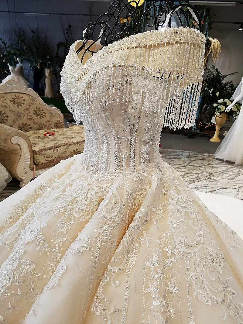 LS65392 ivory off shoulder sweetheart ball gown lace up back hand work wedding dresses from china vestido de noiva hot selling