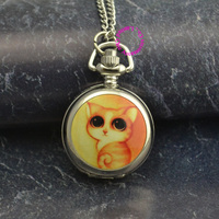 Silver mirror cute colorful cute yellow cat chain pocket watch necklace wholesale buyer low price antibrittle.jpg 200x200