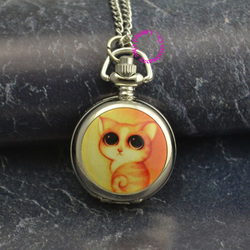 Silver mirror cute colorful cute yellow cat chain pocket watch necklace wholesale buyer low price antibrittle.jpg 250x250