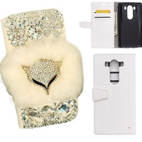 3D DIY Charming Bling Diamond Fox Rabbit Fur PU Leather Flip Wallet Smart Stand Back Case