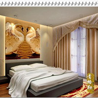 Polyester/cotton blended wall Tapestry, Swans played on the water, 100*150CM