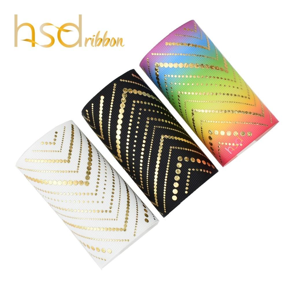 HSDRibbon 75MM 3 inch custom printed Twill dots gold Foil Printed on Grosgrain Ribbon