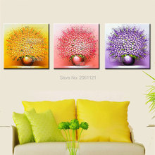 3 Pcs Modern thick bright flower oil painting yellow pink purple Hand Wall Art Canvas Home Decoration Picture For Living Room