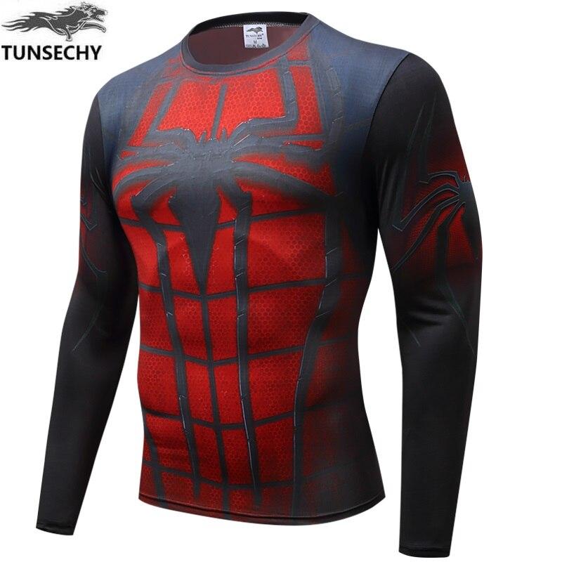 2016 superhero superman, batman, spiderman men long sleeve T-shirt compressed bodice fitness  T-shirt