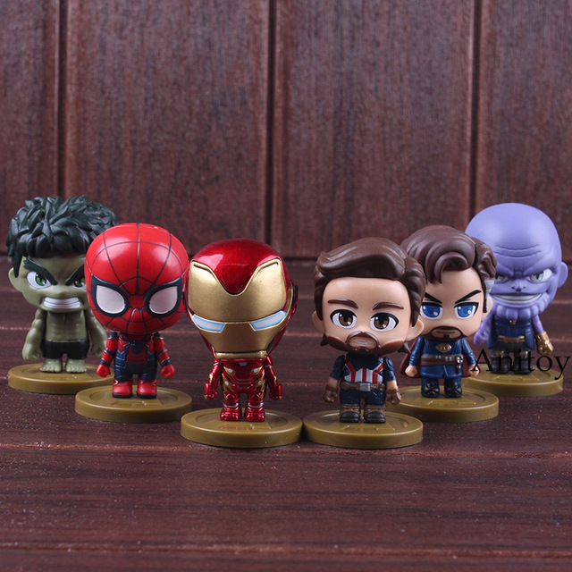 Avengers 3 Infinity War Iron Man Spiderman Thanos Captain America Doctor Strange Hulk Q Version PVC Figure Collectible Model Toy