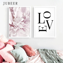 Nordic Style Pink Peony Flower Wall Art Large Love Posters and Prints for Bedroom on the Modern Home Decor