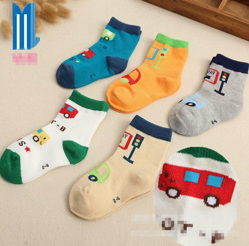 5 pairs / lot childrens socks for boys girls new 2017 brand traffic lights traffic dept short sock British style suit 2-5 year