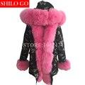 Plus size 2016 nueva largas mujeres de la chaqueta de Camuflaje de invierno outwear parkas gruesas natural bienes fox cuello de piel abrigo con capucha pelliccia
