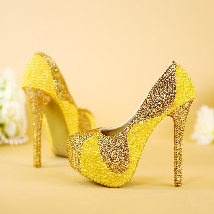 Chaussures à talons hauts, or table imperméable femmes simples forage d'eau chaussures de perles chaussures de mariée robe de mariée et chaussures