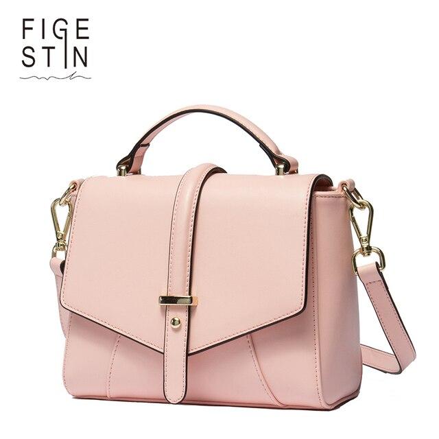 Figestin Women Messenger Bags Split Leather Satchel Fashion Pink Cover Totes Dating Evening Elegant Shoulder