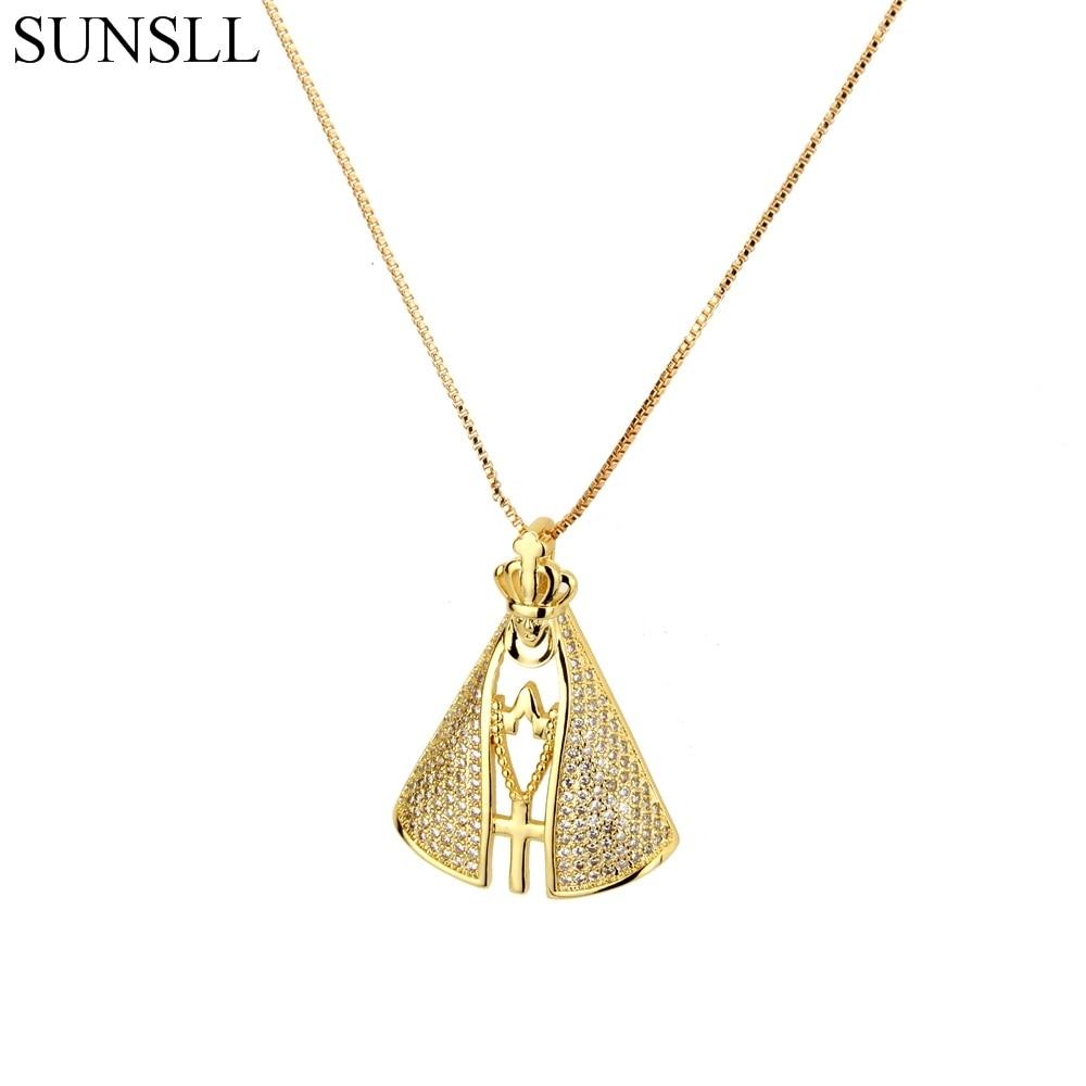 SUNSLL Gold Color Copper Blue White Cubic Zirconia Cross Pendant Necklaces Women's Fashion Jewelry CZ Colar Feminina