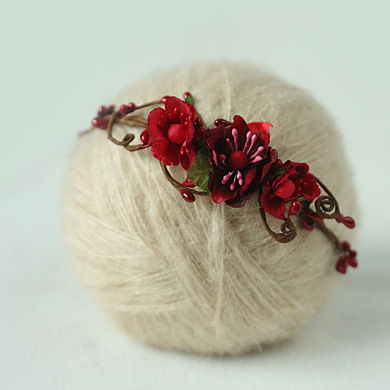 handmade Baby Headband, Newborn Headband, fałszywy kwiat, Baby Girl, - Odzież dla niemowląt - Zdjęcie 6