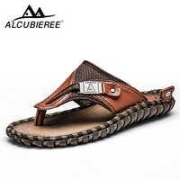 Marque tongs pour hommes en cuir véritable pantoufles de luxe plage sandales décontractées été pour hommes chaussures de mode nouveau 2018 grande taille 48