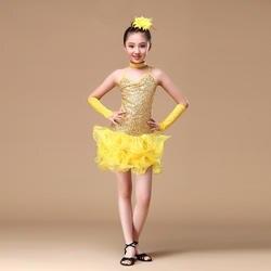 От 6 до 15 лет Детская Одежда для танцев (платье, рукава, головной убор) для девочек с блестками платья с открытой спиной бахрома латинских
