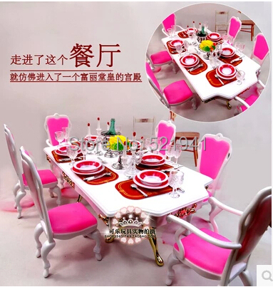 Free Shipping 2016 New Girls Play House Children Play Set Cute Dinning Room Doll Accessories