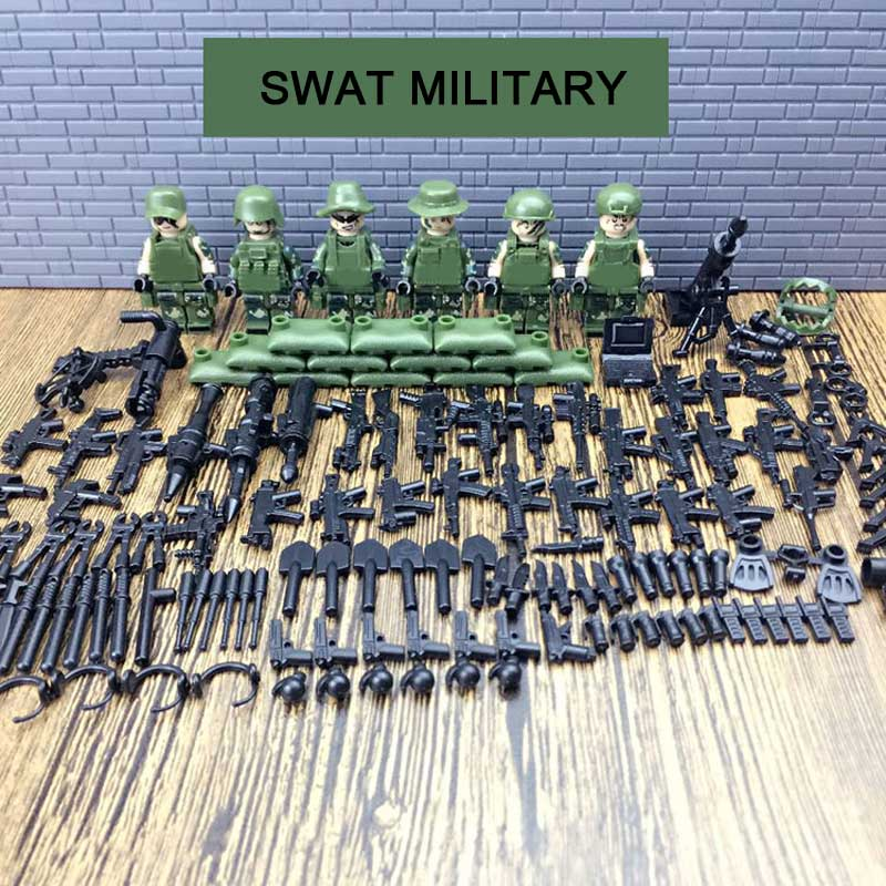 6PCS City SWAT Special Force Assault Armed Troop Camouflage Figures Building Block Set Military Weapons Model Bricks Boys Toy swat city police ghost recon armed crane