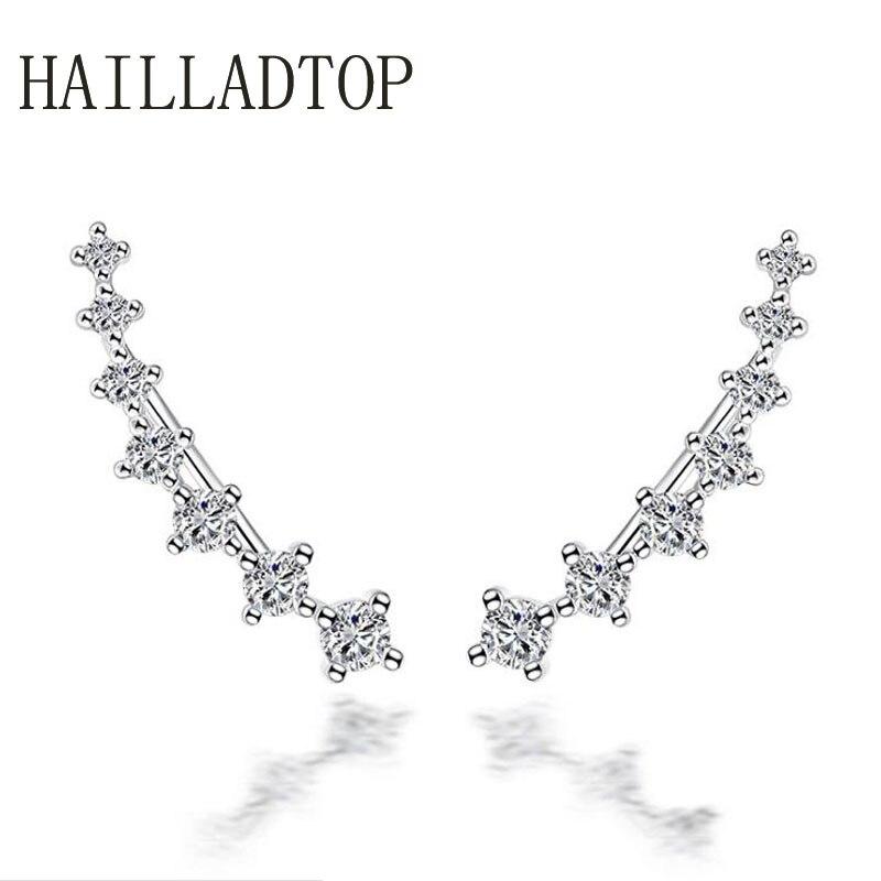 2018 Fashion font b Jewelry b font Women Girl Silver Stud Earrings Ear Clip Seven Stars