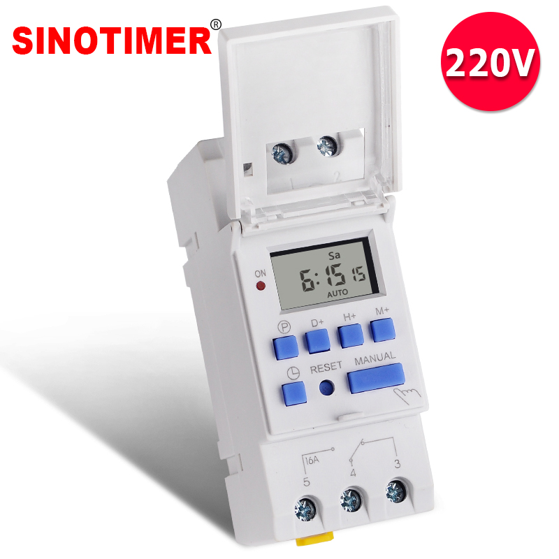 Electronic Weekly 7 Days Programmable Digital Industrial Time Switch Relay Timer Control AC 220V 16A Din Rail Mount thc15a zb18b timer switchelectronic weekly 7days programmable digital time switch relay timer control ac 220v 30a din rail mount