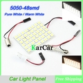 48LED 5050 SMD Car LED Dome Light Bulbs, Wholesale Car Reading Light Panel, Pure White/Warm White