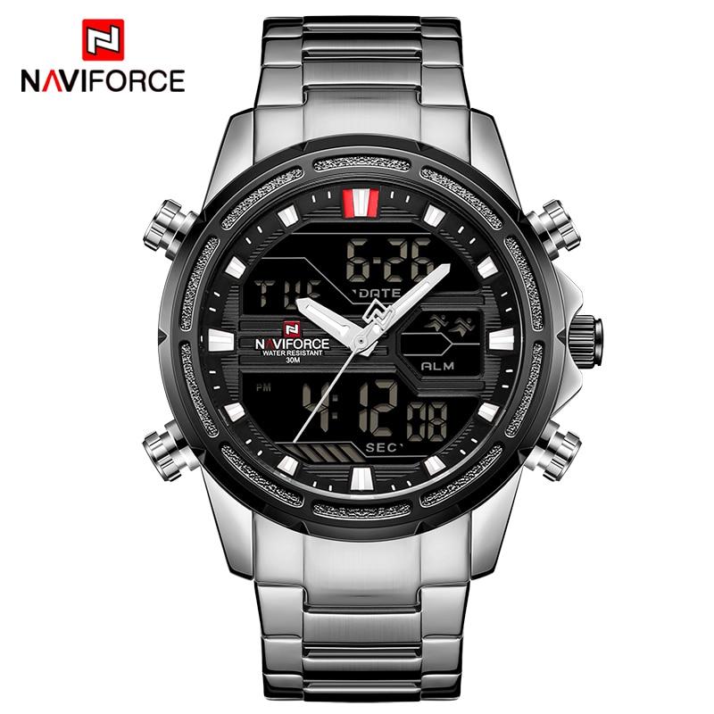 Mens Watches Top Luxury Brand NAVIFORCE Men Sports Watches Men's Quartz LED Digital Clock Male Full Steel Military Wrist Watch