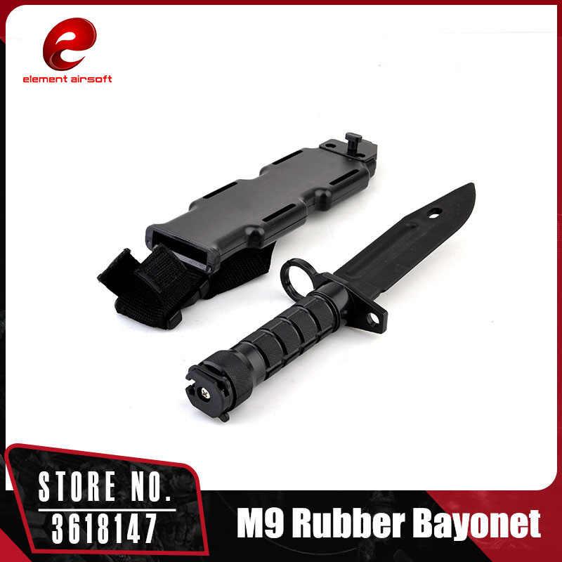 Elemento táctico entrenamiento M9 bayoneta de goma con funda de plástico cuchillo blando Cosplay juguetes negro CY337