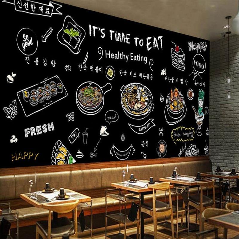 Custom mural black hand painted mural korean food for Decoration cost per m2