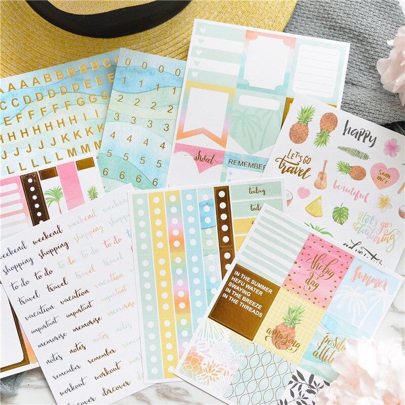 Lovedoki Summer Foil Gold Sticker Alphabet Words Date Notebook Decorative Stickers Planner Accessories Scrapbook Diy Stationery