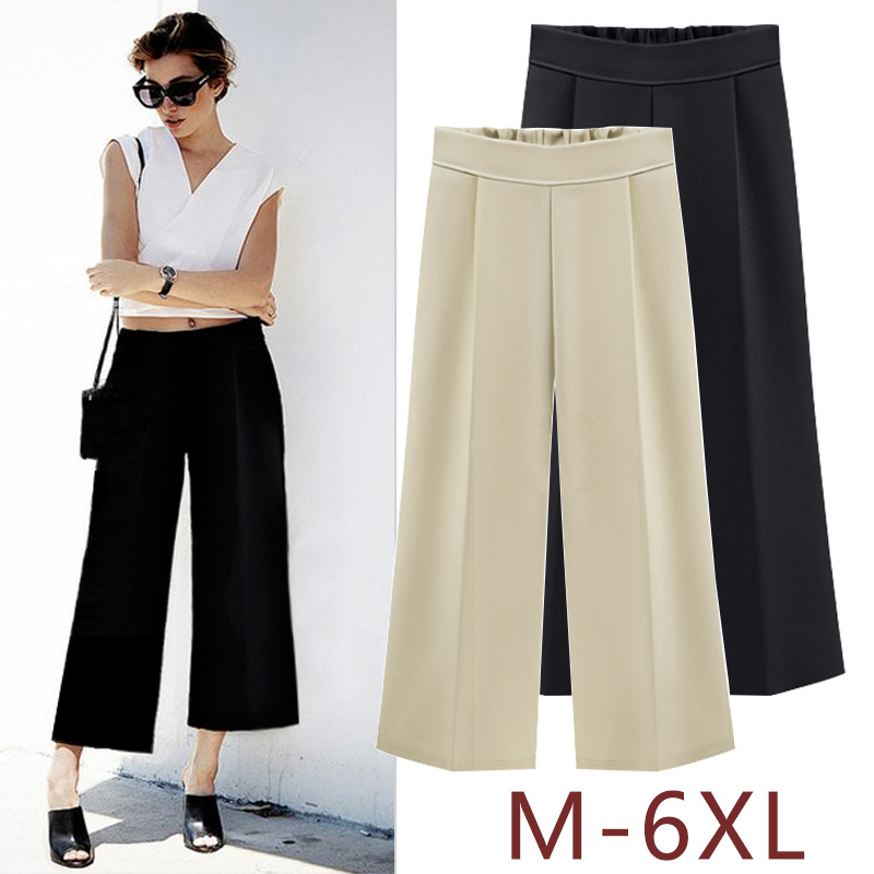 Wide     Leg     Pants   Female Summer White Trousers High Waist Loose Straight Calf Length Women Broad   Leg     Pants   6XL palazzo   pant   Black
