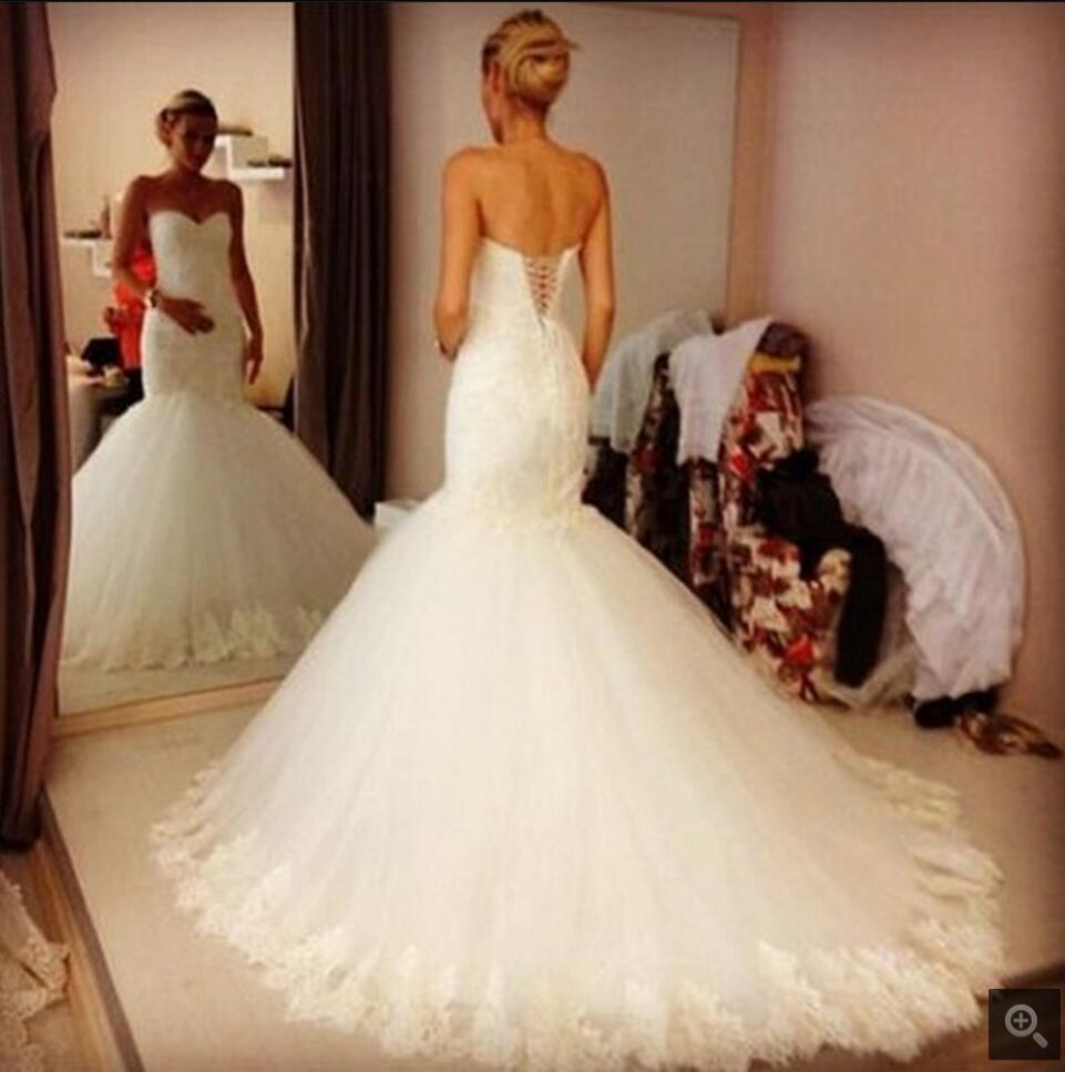 2016 Amazing Mermaid Lace Appliques Formal Real Photo Wedding Dress Sleeveless Corset Cheap Wedding Gowns Best Selling