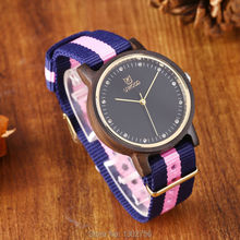 Uwood Pure Natural Nylon Band Black Sandalwood Analog Women Wristwatch For Women  Fashion Watch Gift Free Shipping