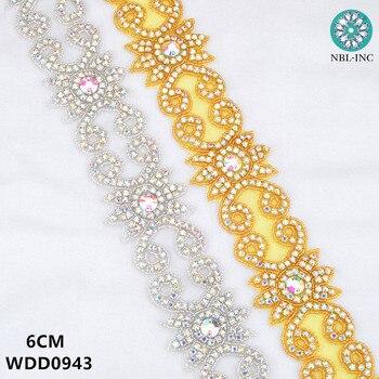 (10 yards )Bridal beaded gold AB crystal Rhinestone Applique Trim iron on for wedding dress rhinestone applique belt WDD0943