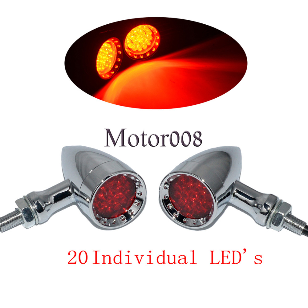 цена Motorcycle Chrome 20 Red LED Bullet Turn Signal Brake Light Tail Light Tail Brake Light For Honda Yamaha Suzuki Kawasaki KTM
