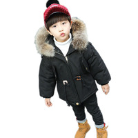 2018 Autumn Winter Baby Boys Down Cotton Coats Children Warm Thick Jackets Kids Real Fur Collar Hooded Outerwear Overcoat P69