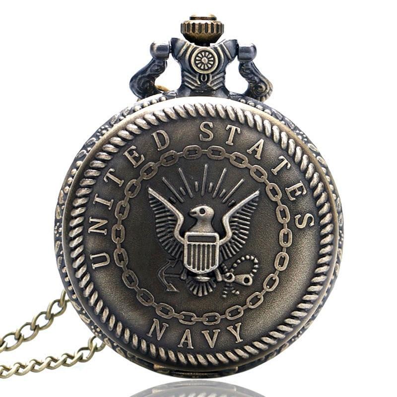Antieke bronzen Fob klok vredesduif zakhorloge met ketting ketting - Zakhorloge - Foto 6