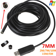 6 LEDs 7MM USB Endoscope Camera 2M/7M/10M/15M/5M Cable length IP67 Waterproof Snake Inspection Borescope Video Tube Pipe