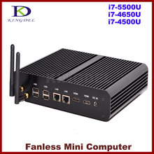 Kingdel Win10 Mini PC i7 5500U Бродуэлла ПРОЦЕССОР Intel NUC Безвентиляторный Компьютер Core i7 4650U/i7-4500U Haswell, 2 * LAN + 2 * HDMI + SPDIF, Wi-Fi