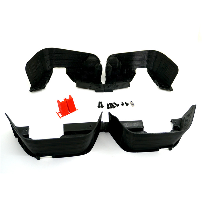 1:10 Black RC Crawler Car Black Mudguard Flares Set (Front/Rear) for Axial SCX10 90027 90028 90035 Body Shell Parts