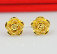 Authentic Solid 24K Earrings/ Perfect Women's Rose Flower Stud Earrings 1.85g