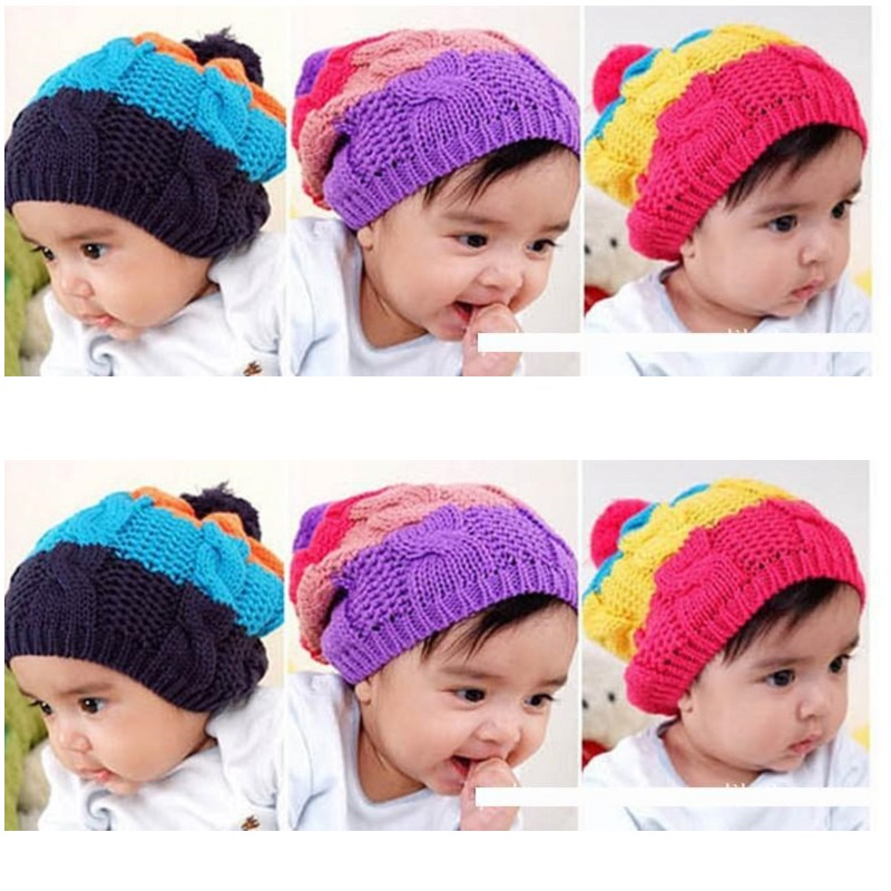 d3690795fa3f Hooyi Crochet Knitted Children Hats scarf sets for Girls beret Cap ...