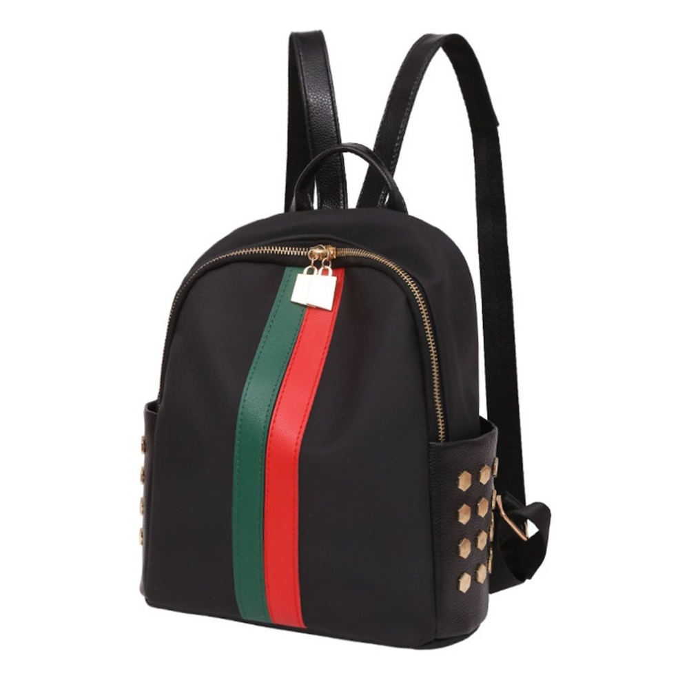 2018 Fashion Mini Backpack School for Girls Teenagers PU Leather Small Backpack Female Red Green Stripe Bag Mochila Feminina 2018 new casual girls backpack pu leather 8 colors fashion women backpack school travel bag with bear doll for teenagers girls