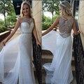 Moda Una Línea de Lentejuelas Vestidos de Baile 2017 de Encargo Con Cuentas de Cristal Blanco Scoop Cuello Piso-Longitud Vestidos de Noche Formales