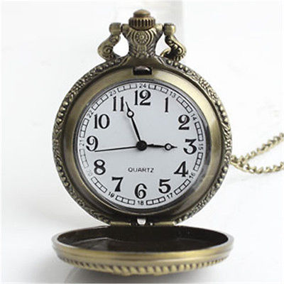 High Quality Retro Style Bronze Steampunk Quartz Necklace Pendant Chain Clock Pocket Watch For Women Men Hot Sale & Good