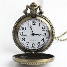High Quality Retro Style Bronze Steampunk Quartz Necklace Pendant Chain Clock Pocket Watch for women men