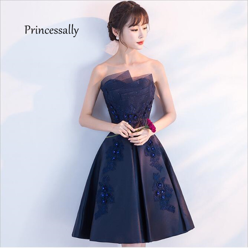 New Short Evening Dress Satin Strapless A-line Appliques Navy Blue Vestidos Cerimonia Formal Dresses Prom Gown Buy China Direct