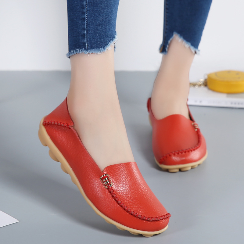 Women Flats Genuine Leather  2017 Fashion Women Shoes Breathable Slip-on Peas Massage Ballet Flats Candy ColorsWomen Flats Genuine Leather  2017 Fashion Women Shoes Breathable Slip-on Peas Massage Ballet Flats Candy Colors