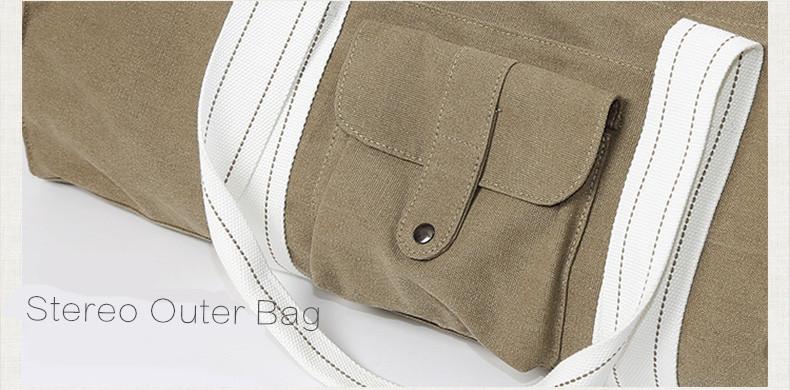 Sac à main beige, kaki, pour tapis de yoga en coton écologique, housse étui, détails bretelles et coutures