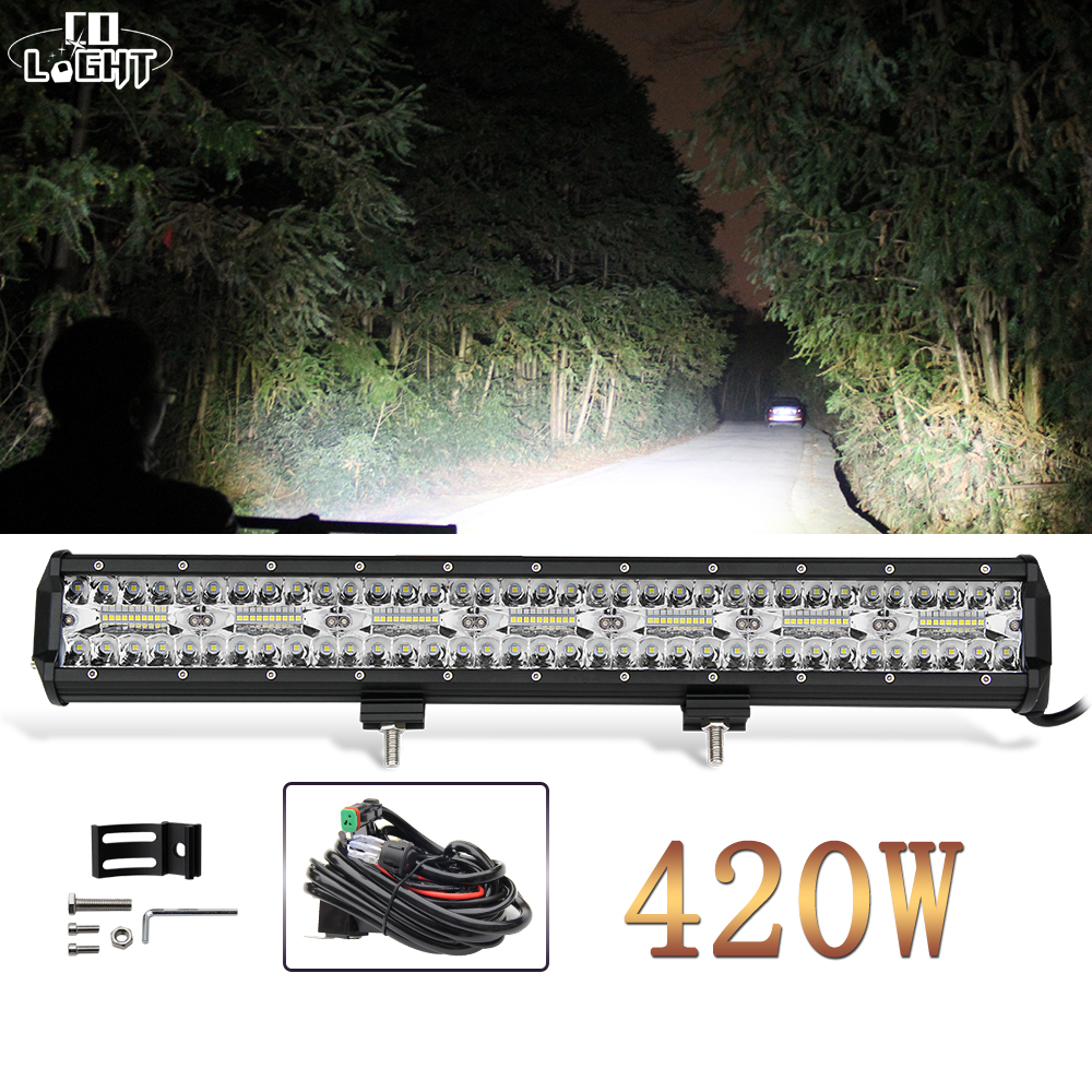 цена CO LIGHT 420W 3-Rows Led Light Bar Car 20 inch Spot Flood Combo Beam Led Bar for Trucks ATV Tractor Jeep Auto Work Light 12V 24V онлайн в 2017 году
