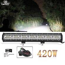 Światło CO 420W 3 wiersze listwa świetlna Led samochodu 20 cal Spot powódź Combo Beam Led do baru dla samochodów ciężarowych ATV ciągnik Lada automatyczne działanie światła 12V 24V